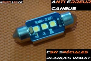 C5W - Navette 36mm -Plaques immatriculation 3 LED SMD - 18V