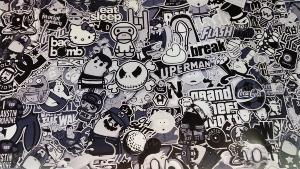 Sticker Bomb SOUTH PARK Noir et Blanc 2m x 1.52m